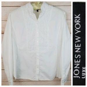 Jones New York 12 White Crochet Embellished Blouse